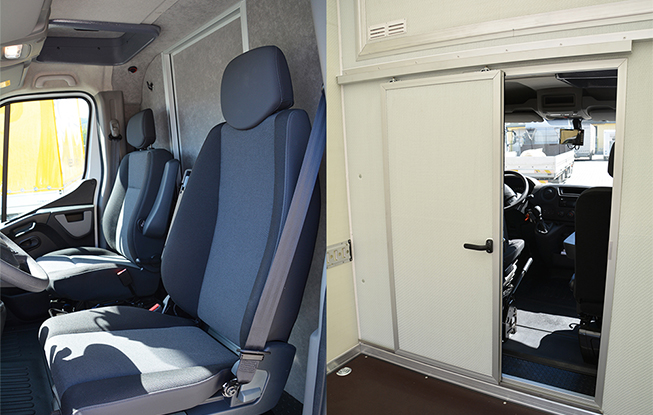 Access door between the driver's cab and the cargo area